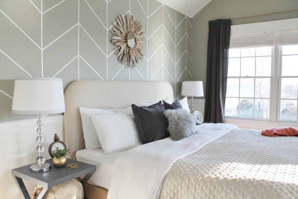 DIY Herringbone Wall & Soft Neutral Bedding