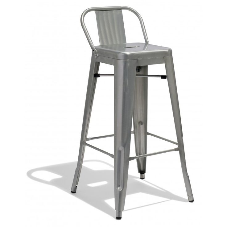 Low Back Stool in Galvanized Metal , Industry West