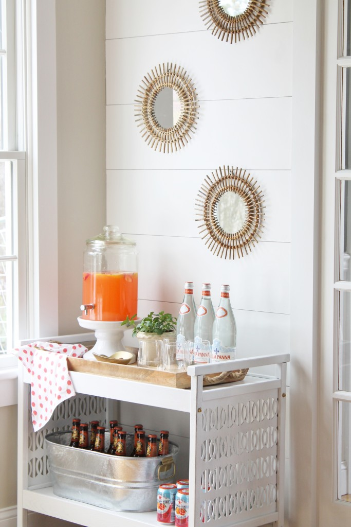 Bar Cart Mini Makeover With Rattan Mirrors and Planked Wall