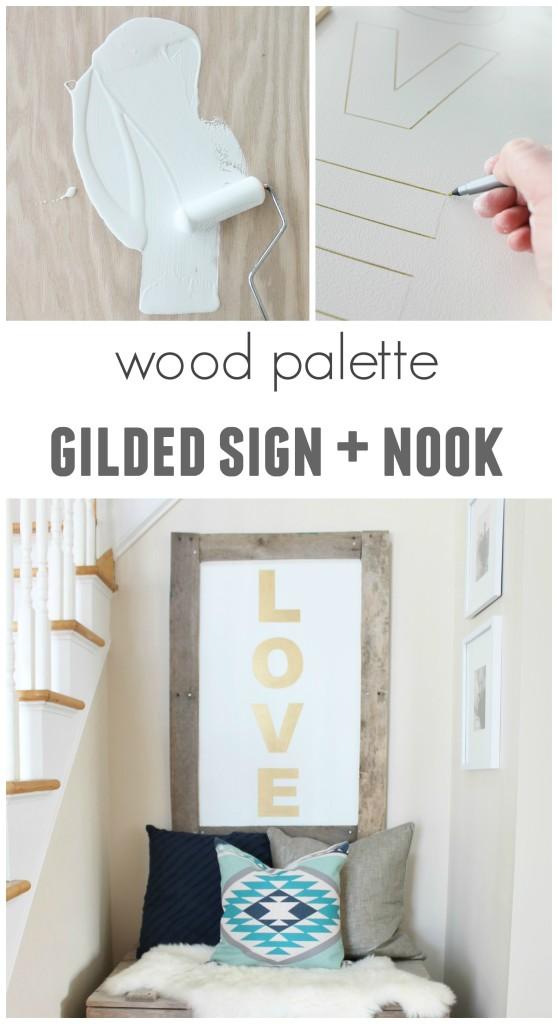 Dekorationly.com Wood Palette Vergulde bord & nook vergulde palette