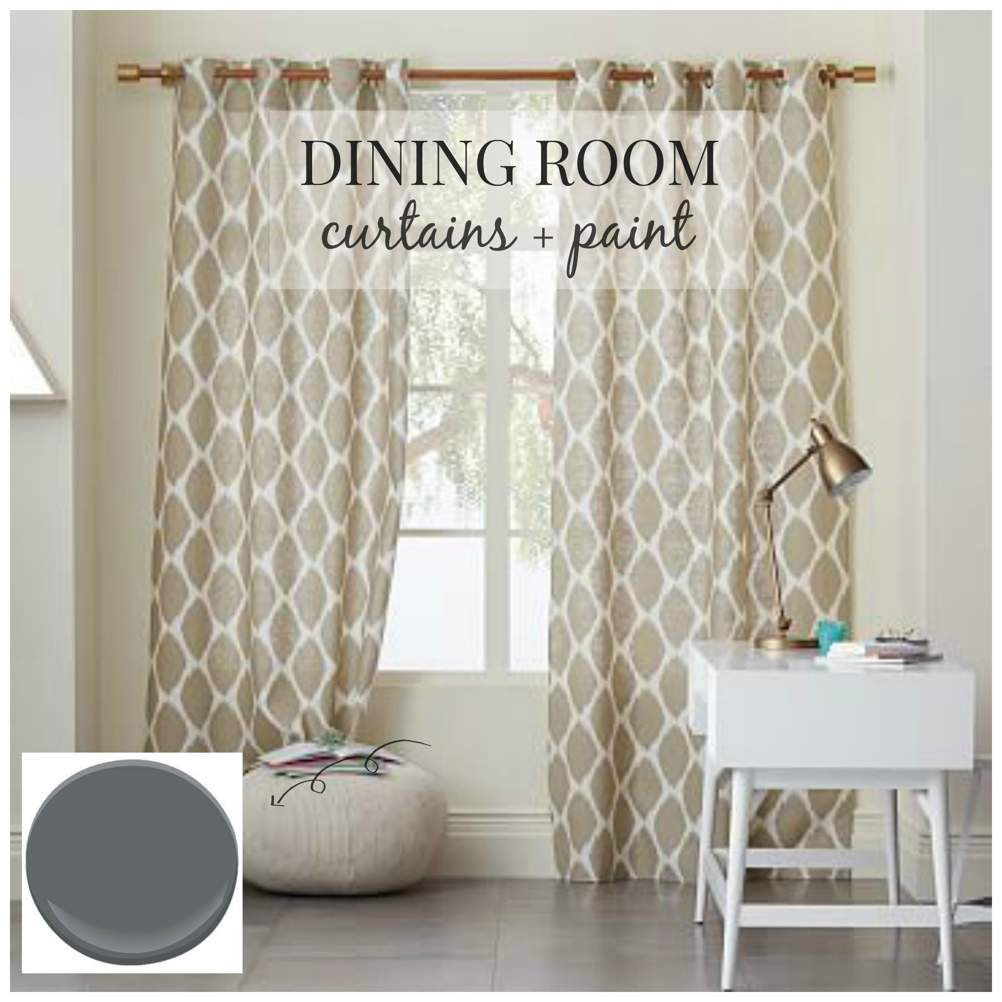 Dining room design curtains paint city farmhouse for Dinner room ideas