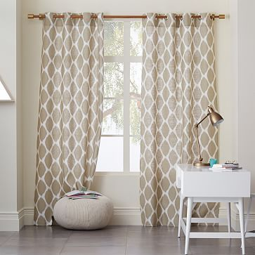 Ikat Ogee Drapes West Elm Straw