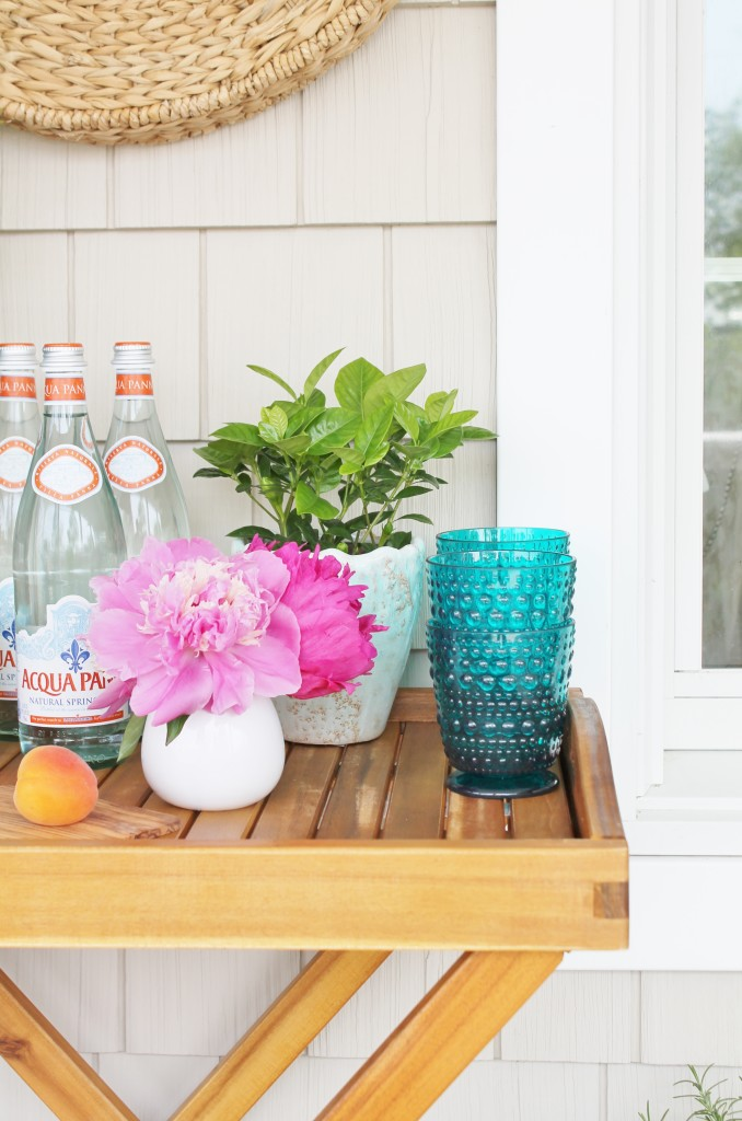 Summer Farmhouse Front Porch- Bar Cart Perfect For Entertaining