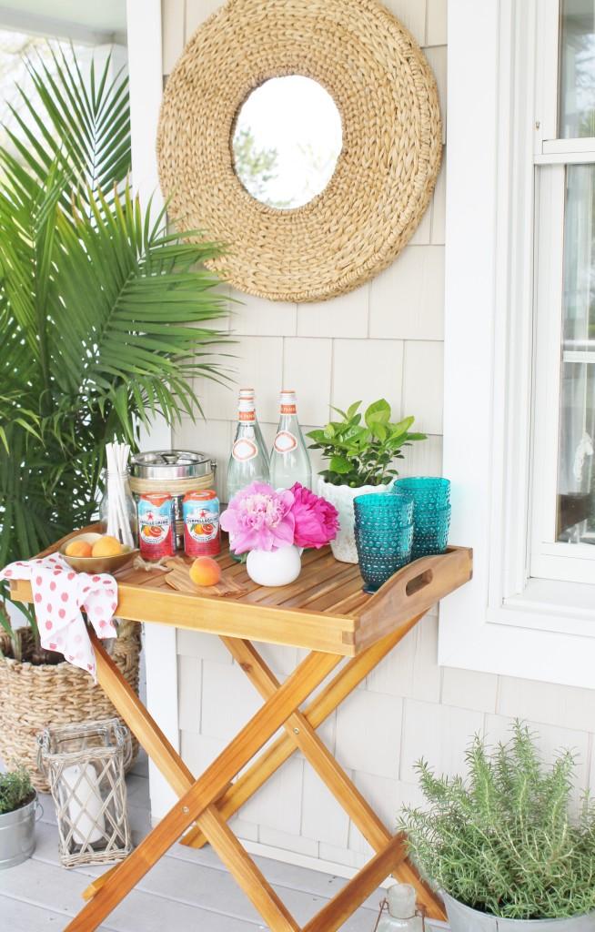 Summer Farmhouse Front Porch- Bar Cart