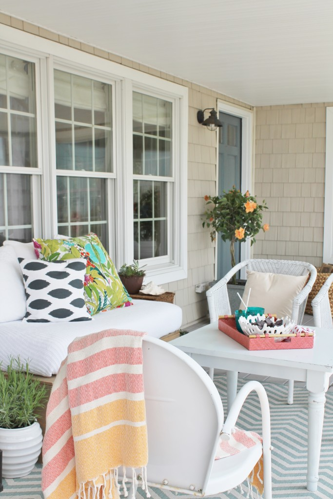 Summer Farmhouse Front Porch-Coral, Orange & Turquoise