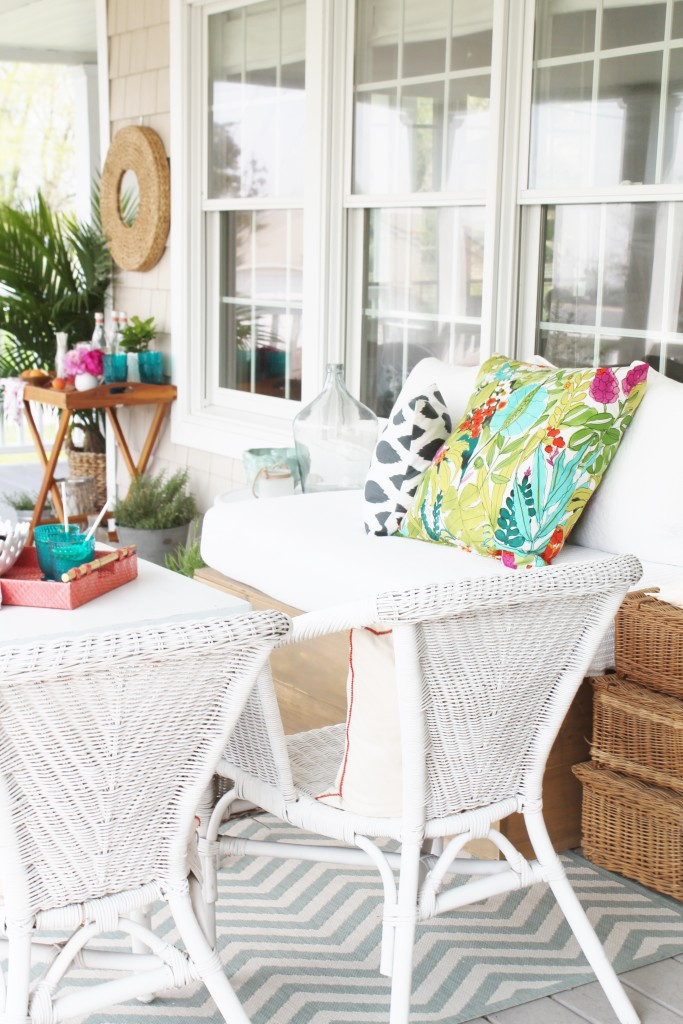 Summer Farmhouse Front Porch-White Wicker & Colorful Accents