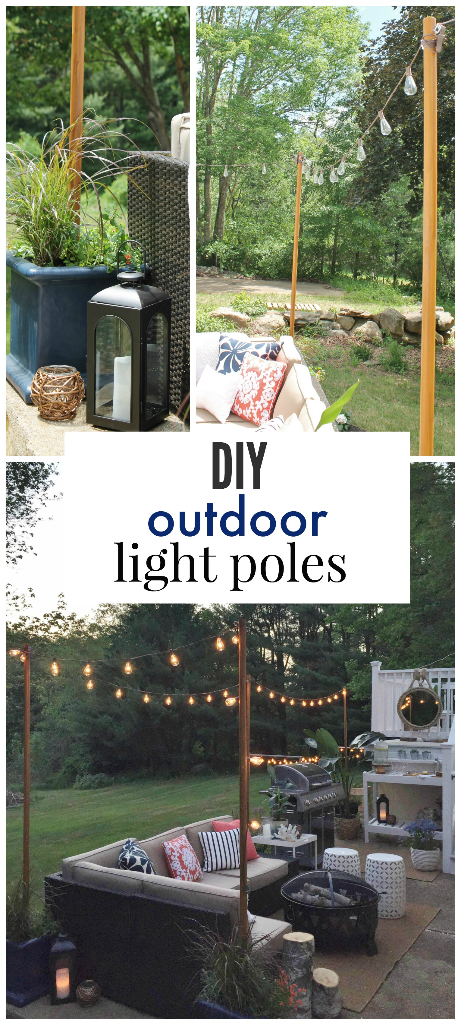 Diy outdoor light poles city farmhouse - Practical ideas to decorate front yards in the city ...