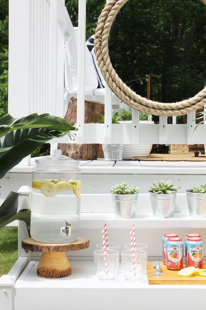 Lowe's Spring Makeover Reveal-Bar Details, Succulants and Log Slice Drink Stand