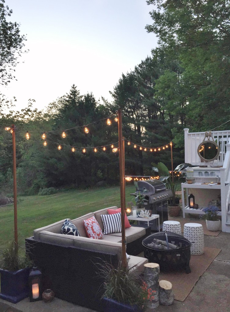 Lowe's Spring Makeover Reveal-DIY Lights at Night