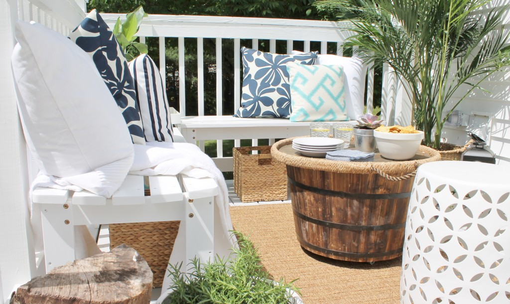 Lowe S Spring Makeover Reveal Ottoman Using Barrel Pot And Tray Extra Storage