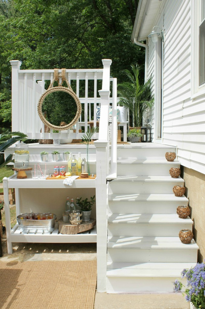 Lowe's Spring Makeover Reveal-White & Gray Stained Deck {Olympic White & Cape Cod Gray} 2