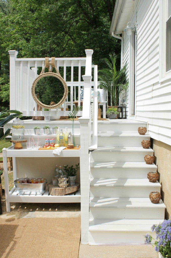Lowe's Spring Makeover Reveal-White & Gray Stained Deck {Olympic White & Cape Cod Gray}