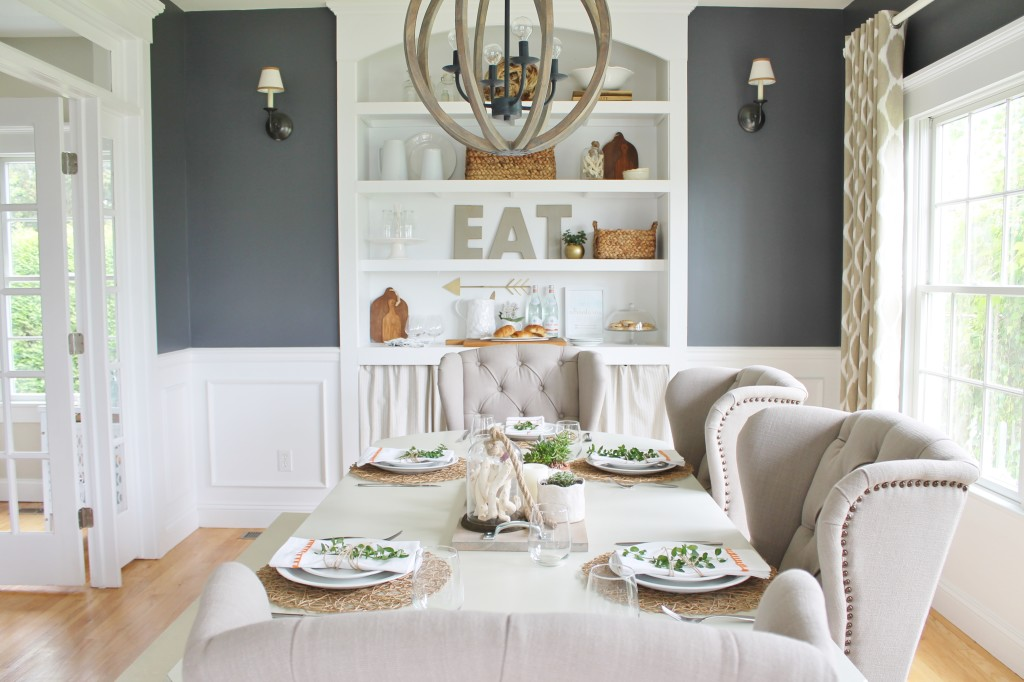 Summer Tour & Dining Room Reveal-Navy Walls, Ikat Curtains & Wingback Chairs
