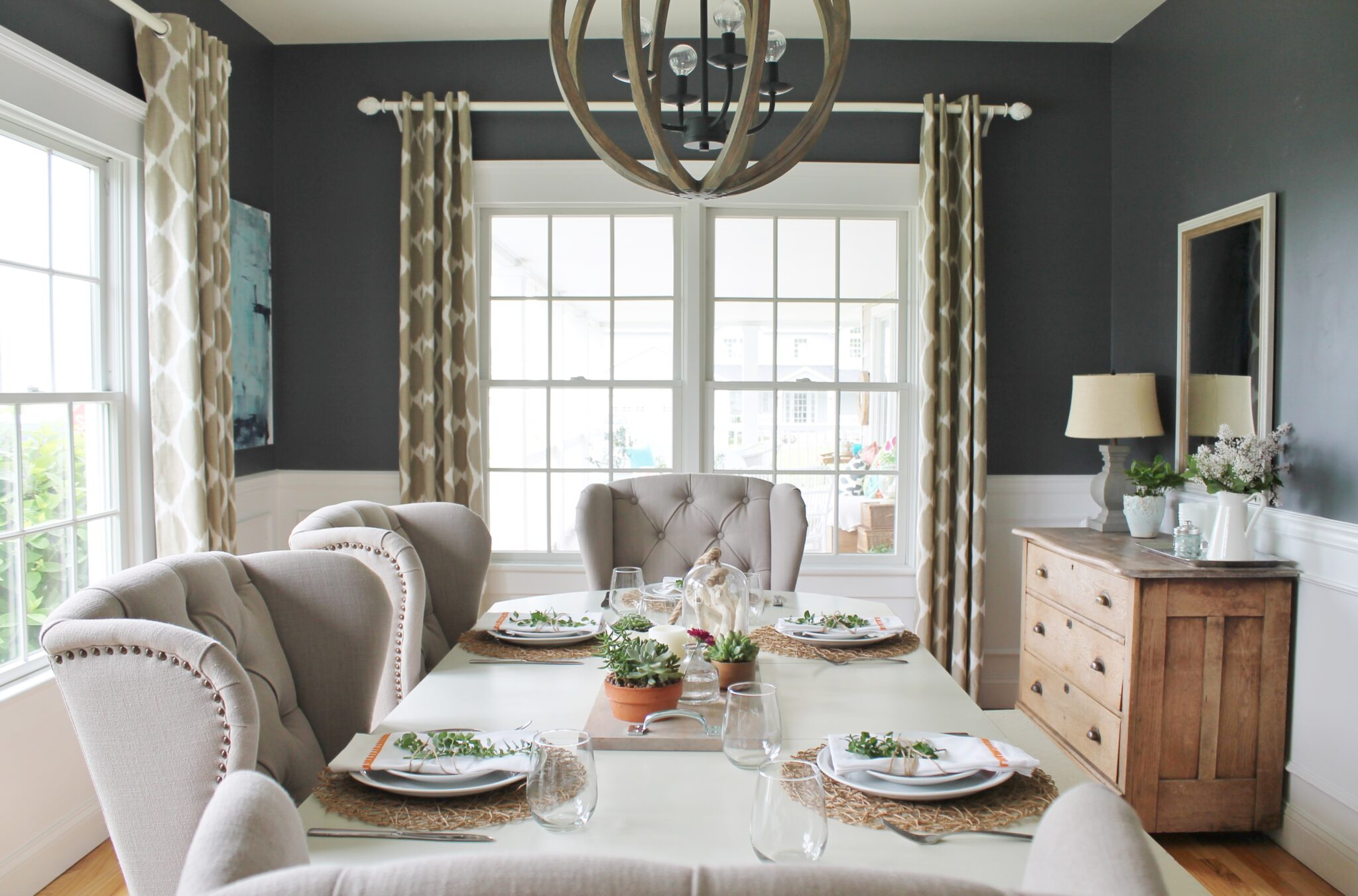 Summer Tour & Dining Room Reveal-Wood Chandelier - City Farmhouse