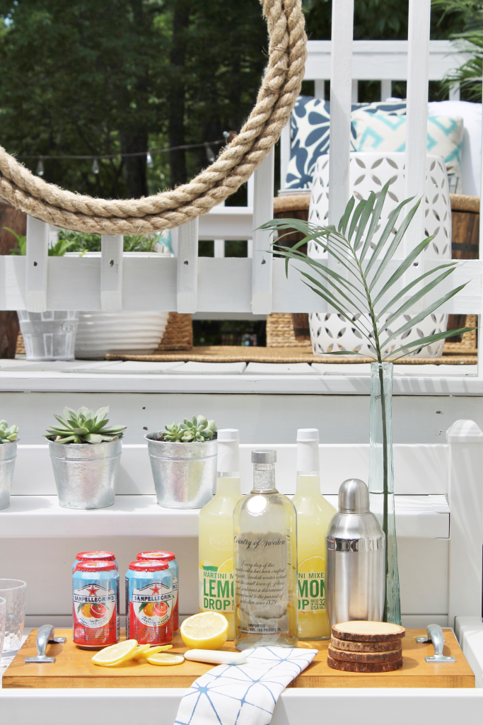 Turn a potting bench into an outdoor bar-Lowe's Spring Makeover