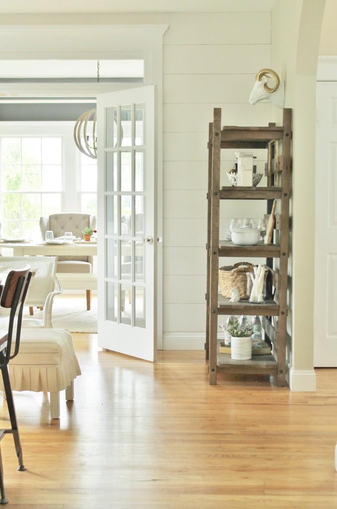Modern Farmhouse Barstools & Rustic Open Kitchen Shelving