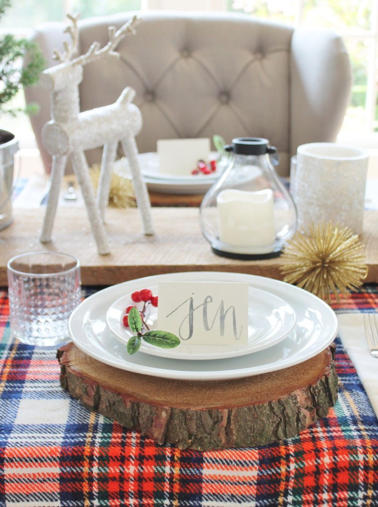 Woodland Inspired Christmas Dining Room With Lowe's, Glittery Deer & Wood Slice Chargers