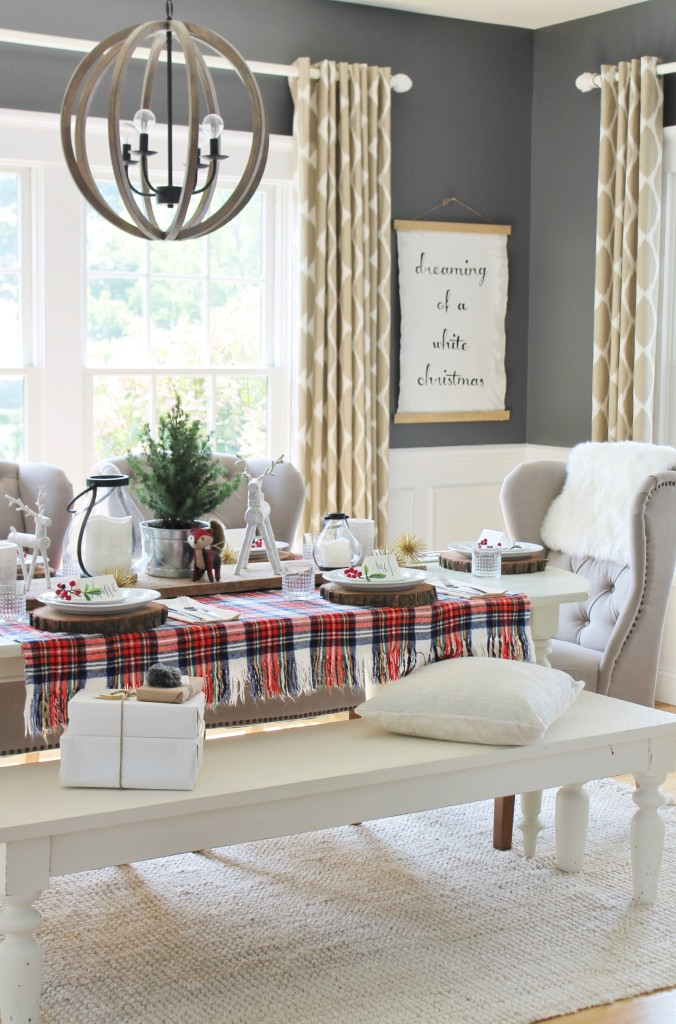 Woodland Inspired Christmas Dining Room With Lowes DIY Art