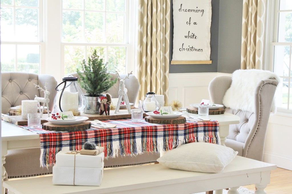 Woodland Inspired Christmas Dining Room With Lowe's & Cozy Pillows
