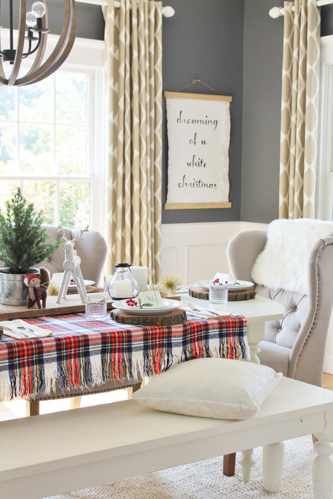 Woodland Inspired Christmas Dining Room With Loweu0027s U0026 Tartan Blanket