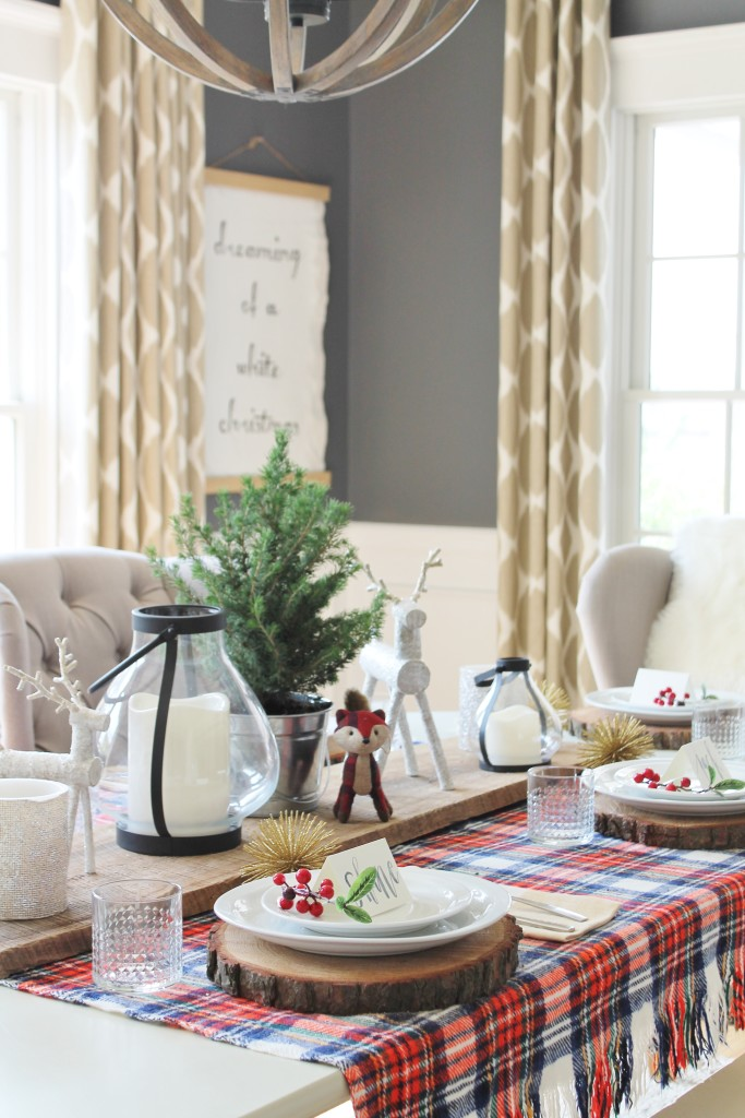 Woodland Inspired Christmas Dining Room With Lowe's-Creatures, Plaid and Lanterns