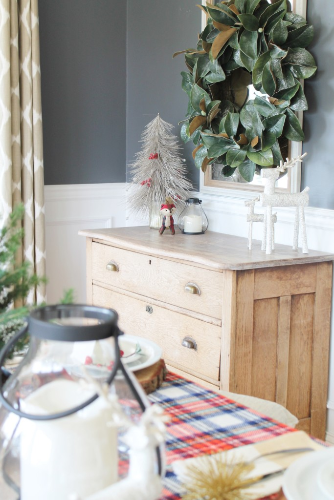 Woodland Inspired Christmas Dining Room With Lowe's & Magnolia Wreath