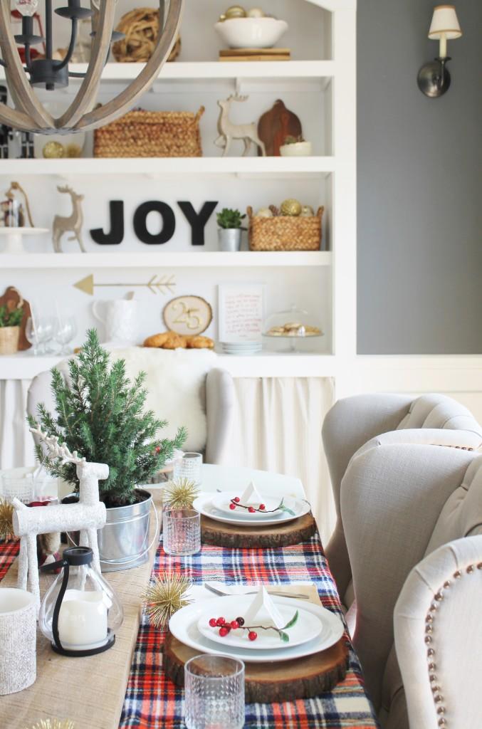 Holiday Dining Room Vintage Tartan Blanket as Table Runner