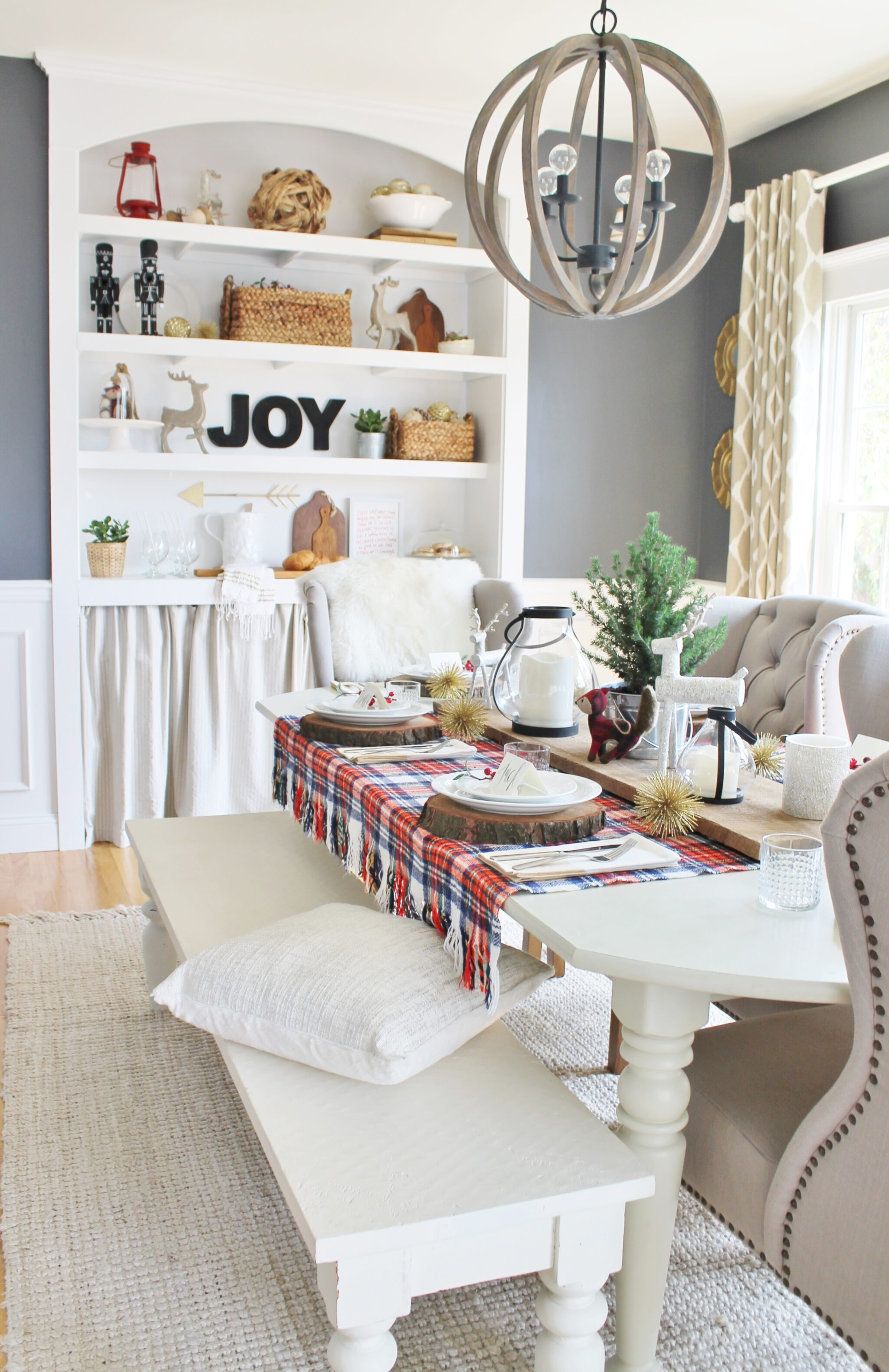 Holiday Dining Room With Lowe S City Farmhouse