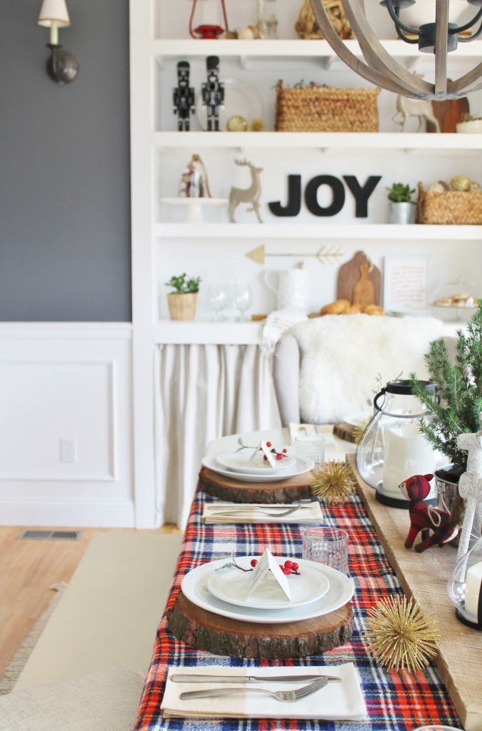 Woodland Inspired Christmas Dining Room With Lowe's & Starburst Ornamants