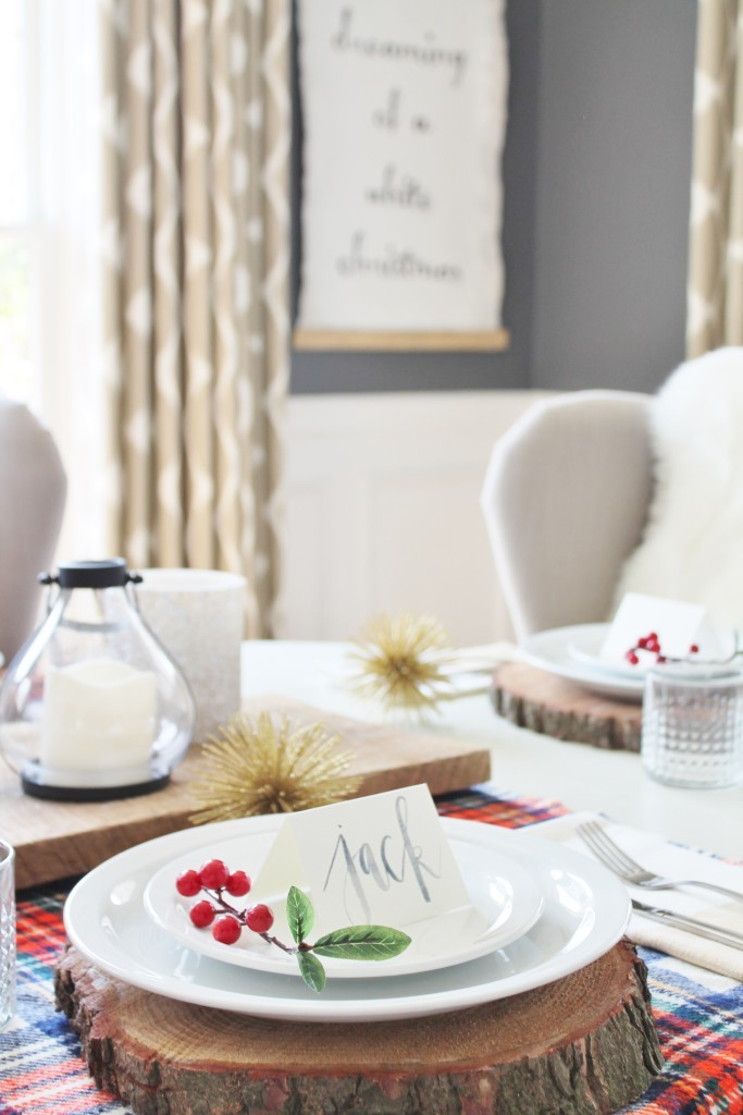 Woodland Inspired Christmas Dining Room With Lowe's & Watercolor Name Tags