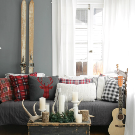 Easy Plaid Deer Pillow + Rustic Vignette