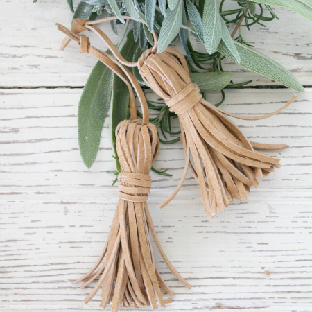DIY Rustic Leather Tassel Ornaments