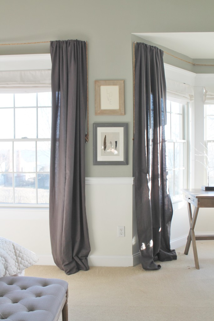 Restoration Hardware Charcoal Linen Drapes on DIY Rope Rods-Christmas Bedroom from BHG Shoot