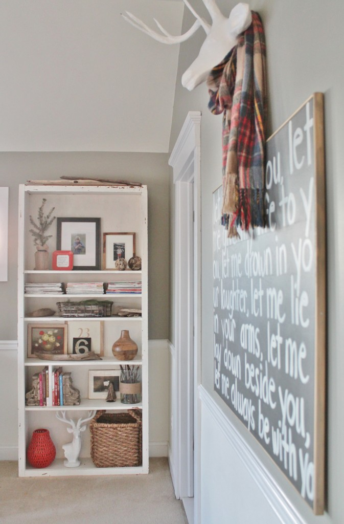 Rustic Open Shelving-Christmas Bedroom from BHG Shoot