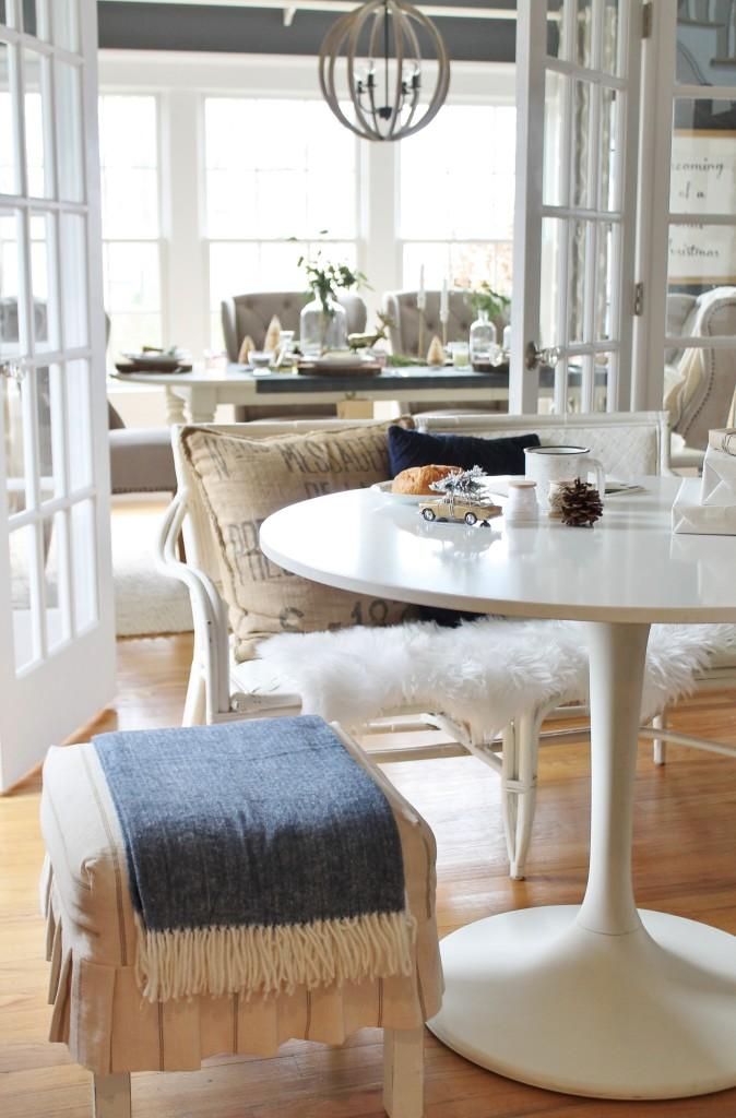 Cozy Christmas Dining Room & Tiny Prints Throw
