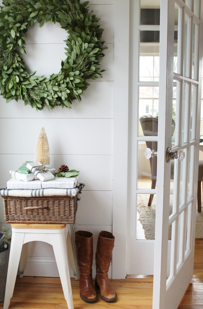 Bay Wreath McFadden Farm With Planked White Wall