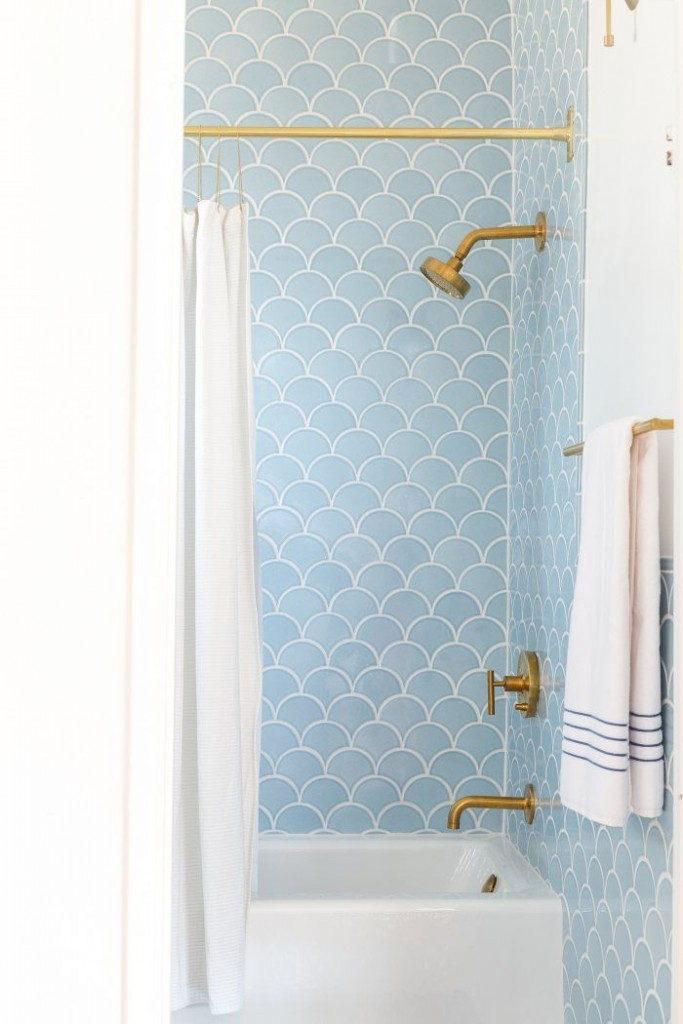 Emily Henderson Fish Scale Tile Bathroom form Fireclay Tile