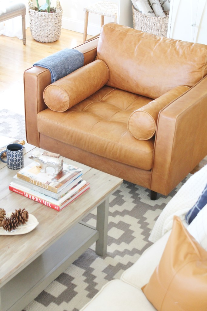Vintage Inspired Cognac Leather Chair