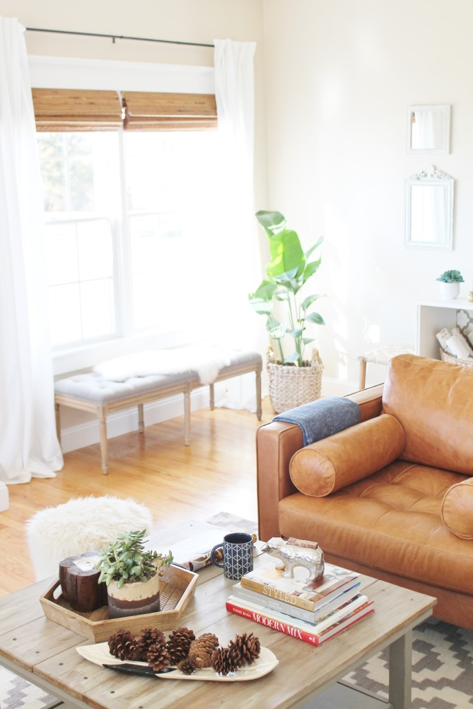 Organic natural shades look beautiful with leather chair