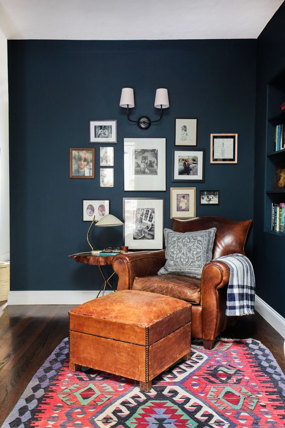 Emily Henderson Hague Blue Reading Nook Benjamin Moore Mysterious