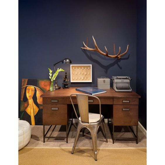 Room of the Week-Fig Studio Architecture & Interior Design benjamin moore's Mysterious. Great blue wall