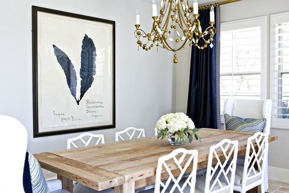 Studio Mcgee Mixing Traditional Chippendale Chairs With A Rustic Table Pairing Upholstered Head