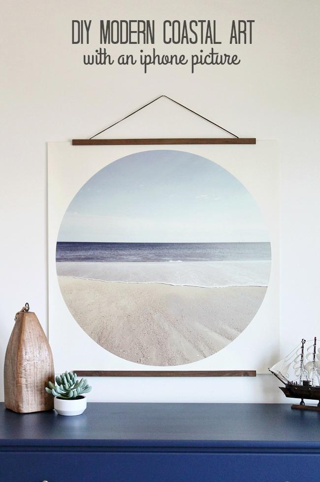 DIY Modern Coastal Art-Easy Tutorial. Coastal Decor-FREE Printable
