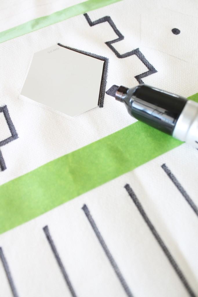 DIY Mudcloth Pilllows-Using A Sharpie & H & M PIllow