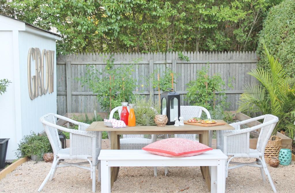 Hamptons Inspired Backyard-Outdoor Dining, DIY Kitchen, White Shed + Herb Garden