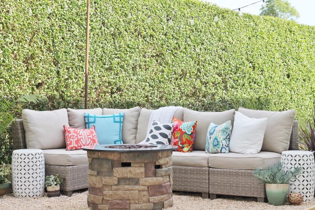 Hamptons Inspired Backyard Reveal- Gray Wicker Sectional