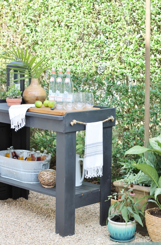 Hamptons Inspired Backyard Reveal-Painted Bar Sherwin Williams Tricorn Black