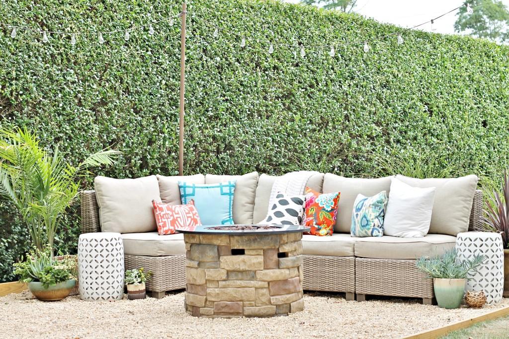 Nantucket Gray Sectional-Hamptons Inspired Small Backyard
