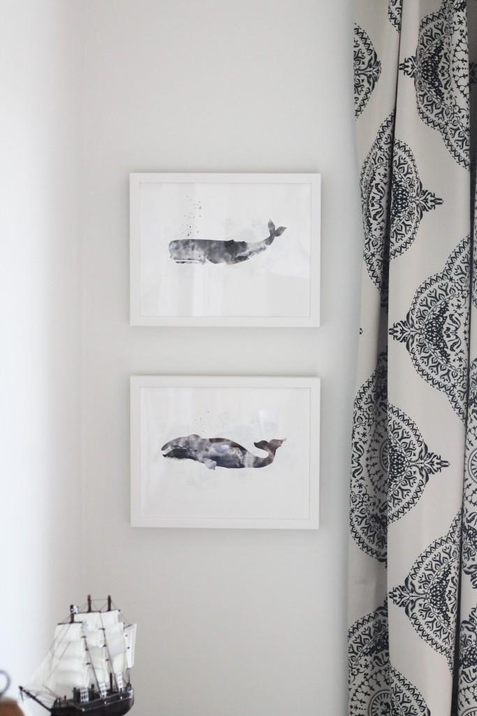 Modern Coastal Boys Room With Minted Whale Art
