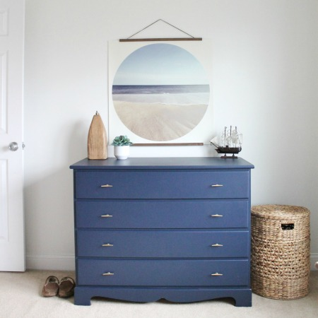 Navy Blue Dresser Makeover For Under $50